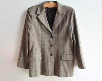 Brown Herringbone Tweed Women Blazer, 90s Clothes Vintage Clothing, Size 16 USA, Womens Outwear Fall Casual Jacket Smart Elegant Lady Blazer