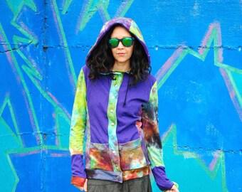 Hippie Jacket - Boho Coat - Women Jacket - Gypsy Coat - Festival Hoodie - Festival Coat - Hand Dyed Jacket - Hippie Hoodie - Organic Bamboo