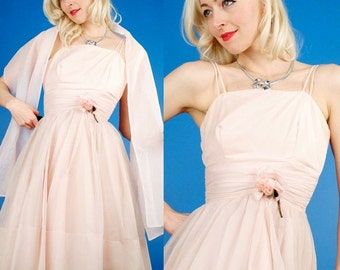 Vintage 50s Ballerina Pink Chiffon ORGANZA PARTY/Prom Dress + Scarf xs/s