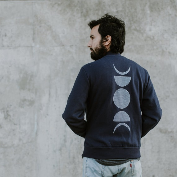 Moon Phases Varsity Jacket - fleece bomber jacket - unisex sweatshirt - NAVY BLUE button down sweatshirt - men or women - moon sweatshirt