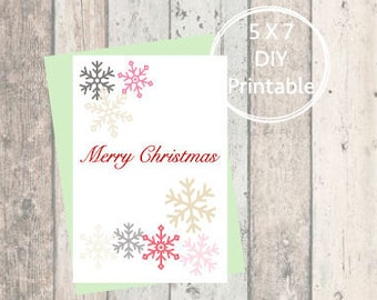 Printable Christmas Card Snowflake, Merry Christmas, Printable Christmas Card, Christmas Card, Printable, Holiday Card, Mid-Century
