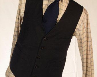 Men's Suit Vest / Vintage Navy Blue Waistcoat / Size 42 Large - XL //  #4014