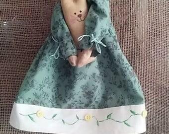 Primitive Folk Art Skinny Annie with bunny