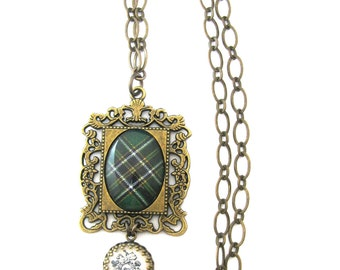 Irish Tartan Jewelry - Ancient Romance Series - Irish National Tartan Romantic Filigree Frame Necklace with Shamrock Charm