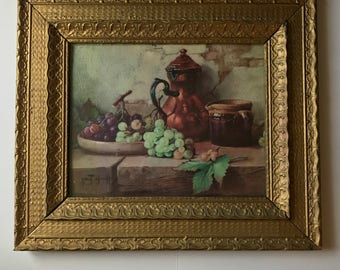 Gold Framed Still Life With Grapes Print, Robert Chailloux 1950s