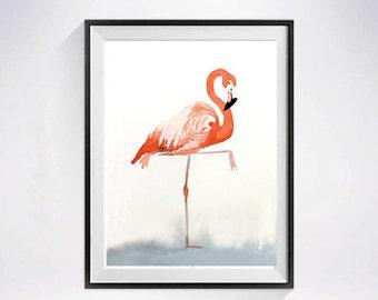 Valentines Day Bird Art Pink flamingo  watercolor Print baby's nursery Zoo animal Coral Wall art kid's room painting pink flamingo