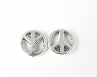 12 Peace Sign Beads - Antiqued Silver - 14mm
