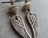 RESERVED Angels Among Us ... Natural Ceramic and Brass Wire-Wrapped Rustic, Boho, Earthy, Primitive, Angel, Wing Earrings
