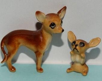 Vintage Porcelain Miniature Animal Figurines, Chihuahua Dogs, Puppy, Miniature Chihuahua Fine Bone China, Miniature Ceramic, Shadow Box