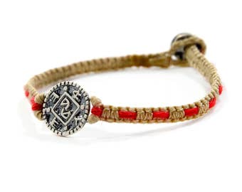 Positive Changes Sterling Silver Amulet on Handwoven Macrame Bracelet with Red String