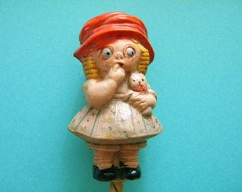 Antique Celluloid Rattle Chloe Preston Girl with Kitten Baby Crib Toy