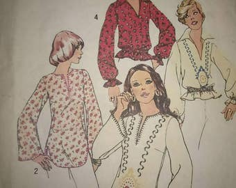 Vintage 70s Sewing Pattern Simplicity 6777 Long Sleeve Pullover Hippie Boho