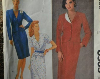 Vintage 80s Sewing Pattern McCall's 8935 Women's Suit Jacket or Top and Mid Length Skirt