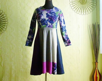 Cashmere Reconstructed Sweater Dress/Upcycled Winter Dress/Navy & Violet Boho Floral Knit Tunic/Brendaabdullah/Size Med