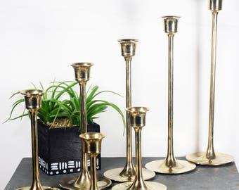 Brass Candlesticks, Graduated Candle Holders, Set of 7, Mid century table centerpiece, tulip style candle holders