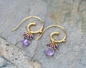 Purple Amethyst Gemstone, 14KT Gold Filled Hoop Earrings, Purple and Gold Earrings, February Birthstone, Birthstone Jewelry, Gold and Purple