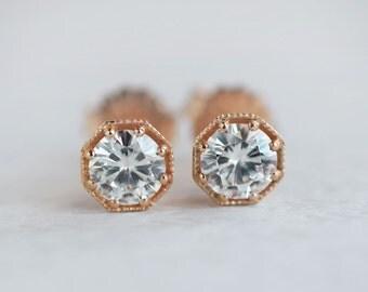 Rose Gold Art Deco Octagonal Earrings | Forever One Moissanite Stud Earrings |  1ct Diamond Studs | gift for girlfriend, wife, fiancee