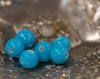 Vintage Turquoise Blue Glass Beads Japan 8- 9mm (6) bds527H