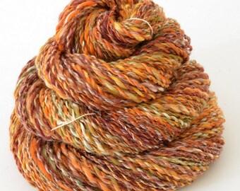 Handspun Yarn -  Hand Spun Merino Bamboo  Yarn - Art Yarn- 1.75oz, 114yd, 16WPI