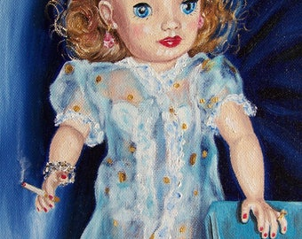 Patsy's Blue Peignoir Oil Painting