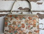 Vintage Silk Tapestry Kelly Bag Purse 1950s Handbag - Gold Lame' Floral Orange and Turquoise