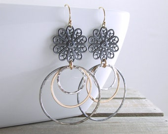 Mixed Metal Earrings Black Gold Dangle Earrings Floral Earrings Bohemian Jewelry Oxidized Silver and Gold Earrings Holiday Gift For Her
