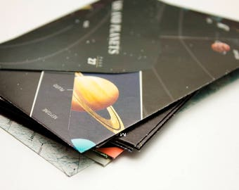 Space and Astronomy - Upcycled atlas envelopes - Set of 10 - Size medium
