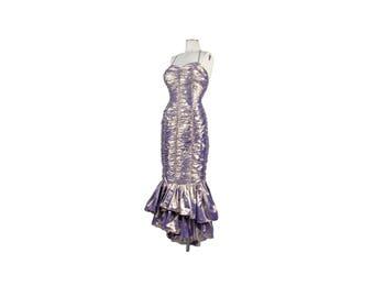 Vintage 80s Dress - 80s Prom Dress - 80s Party Dress - Gunne Sax - Iridescent Dress - Ruched Dress - Fishtail Hem - Gold Purple - Hourglass