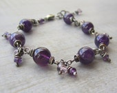 Amethyst Bracelet, Purple Mala Style Sterling Silver Gemstone Bracelet, Beaded Wire Wrapped, Yoga Jewelry