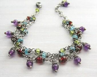 Triple Strand Bracelet, Sundance Style Gemstone Multi Strand Bracelet, Garnet, Apatite, Peridot & Amethyst, Boho Chic Gift for Her