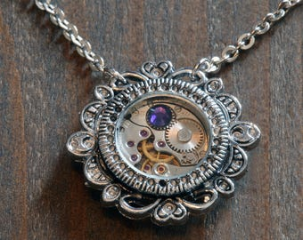 Steampunk Jewelry - Pendant - Watch movement and purple velvet