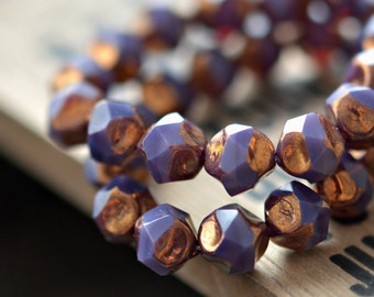NEW! All That Glitters - Czech Glass Beads, Opaline Purple, Metallic Bronze Baroque, Central Cut Rounds 9mm - Pc 10