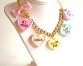 Conversation Heart Necklace Valentines Day Necklace Pastel Candy Hearts Charms Miniature Food Jewelry Kawaii
