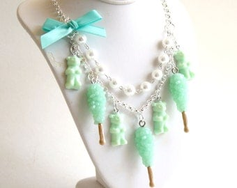 Candy Statement Necklace Mermaid Mint Green Necklace Aqua Pastel Rock Candy Gummy Bear Kawaii Statement Necklace Pin up Jewelry
