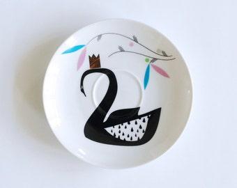 Illustrated vintage plate Swan