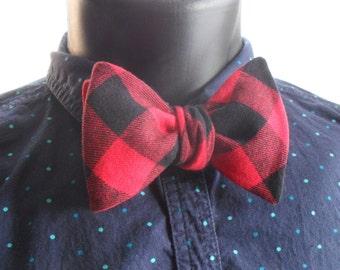 Buffalo Plaid Self-Tie Bow Tie