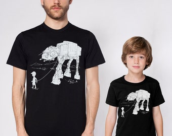 My AT-AT Pet matching graphic tees for dad and son,star wars identical set, father child matching t-shirts, birthday gift, family shirts