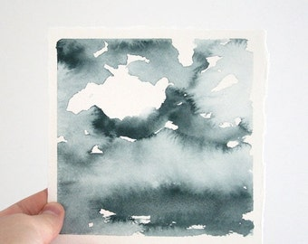 """SALE Haze Over the Lake, Original Abstract Waterscape Painting, Watercolour, Indigo Blue, 5"""" X  5"""""""