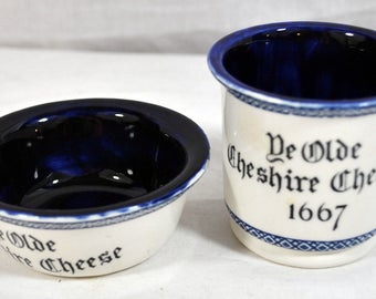 """Small Vintage Wedgwood Bowl and Cup """"Ye Olde Cheshire Cheese 1667"""" England Unicorn - Blue and White Replica"""