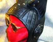 RESERVED for MERONYC/ Custom Quilted Cat Ear Aviator Hat in Black Leather