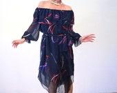 Volcán de Fuego, 70s Off the Shoulder Dress, Boho Dress, Black Sheer Ribbon Print Party Dress, Chiffon Floaty Printed Dress M L