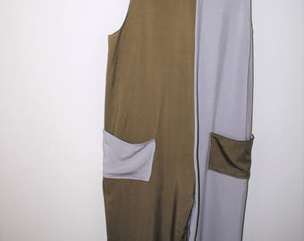 color blocked culotte romper handmade rayon cropped grey + green wide leg jumper suit