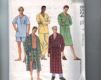 Misses Sewing Pattern McCalls 8524 Mens Pajamas PJS Robe Easy Size S M L Chest 34 36 38 40 42 44 1996 90s UNCUT