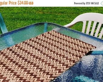 Sale Handmade Burlap Table Runner Brown Chevron Brown Zig Zag Design Table Topper Dresser Scarf