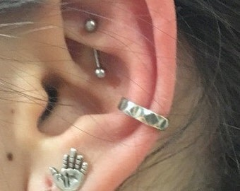 Fake Ear Piercing, Faux Piercing, Fake Conch Piercing, Sterling Silver Ear Cuff, Silver Lace Ear Cuff, Conch Cuff, silver ear wrap - EC8067