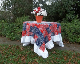 Americana Tablecloth Ruffled Tablecloth Red White Blue July 4 Patriotic Party Decor Country Western Wedding Decor 76x76
