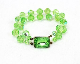Green Bracelet, Art Deco, Crystal Beads, Vintage Wedding Jewelry, Great Gatsby