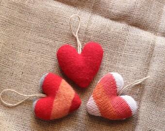 Valentines Day Heart Ornament Set, Heart Valentine Decorations, Felt Heart Set