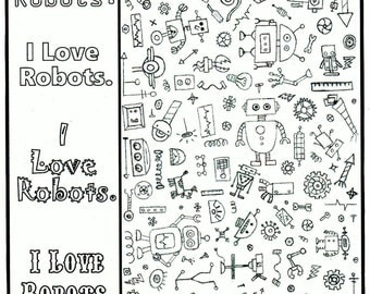 Robot COLORING PAGE and BOOKMARK, the Perfect Add-On