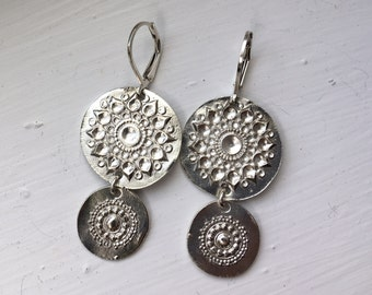 Handmade cascades earrings in fine silver on leverback earrings